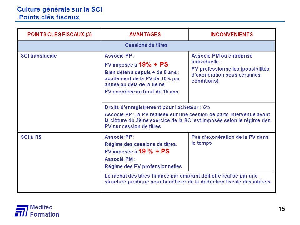 Meditec Formation Culture générale sur la SCI Points clés fiscaux 15 POINTS CLES FISCAUX (3)AVANTAGESINCONVENIENTS Cessions de titres SCI translucideA