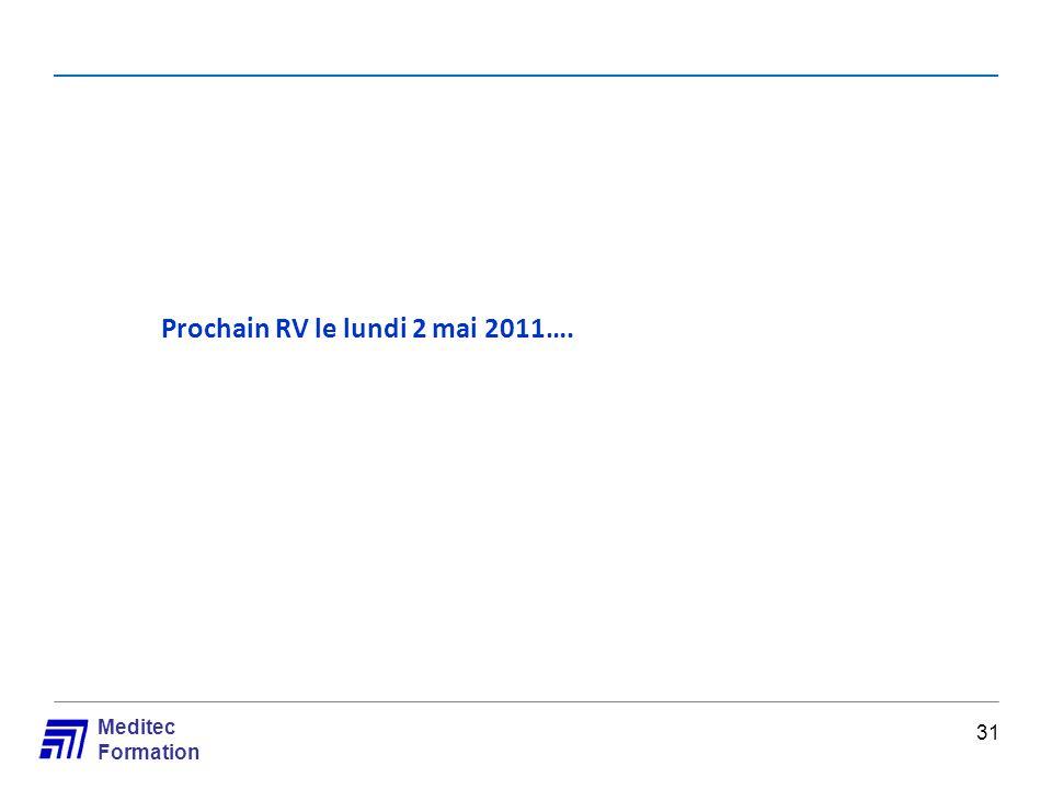 Meditec Formation Prochain RV le lundi 2 mai 2011…. 31