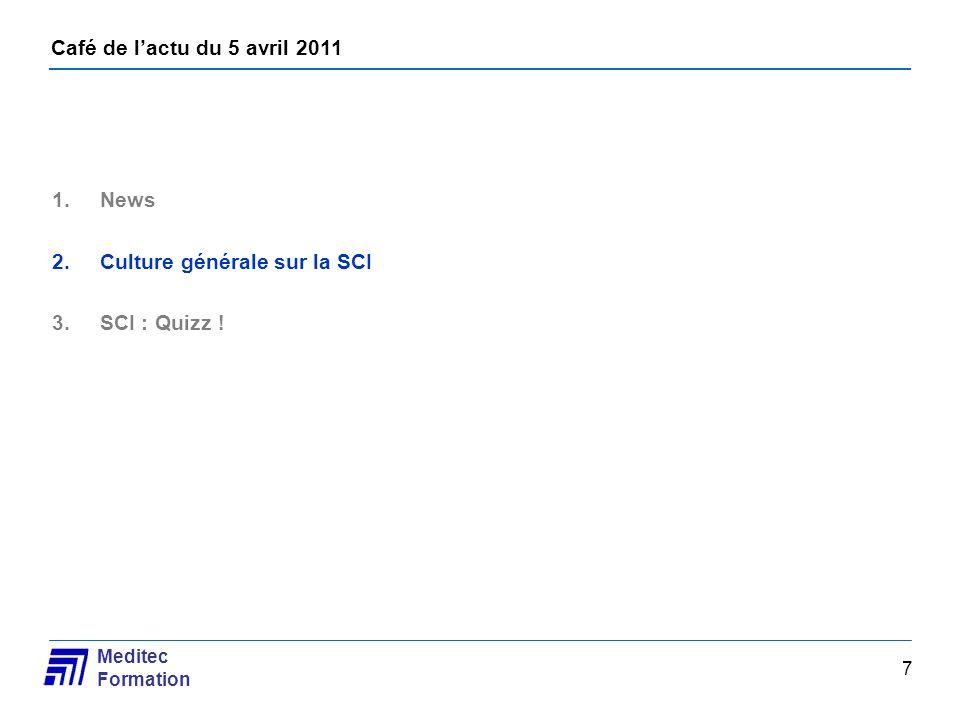 Café de lactu du 5 avril 2011 Meditec Formation 7 1.News 2.Culture générale sur la SCI 3.SCI : Quizz !