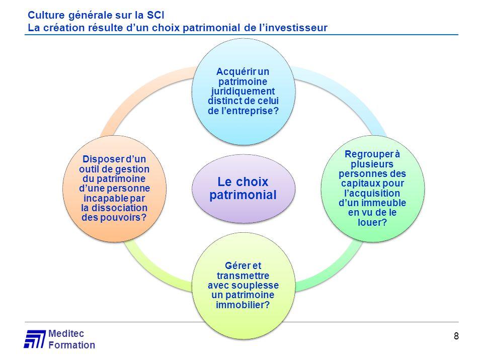 Meditec Formation Culture générale sur la SCI La création résulte dun choix patrimonial de linvestisseur 8 Le choix patrimonial Acquérir un patrimoine