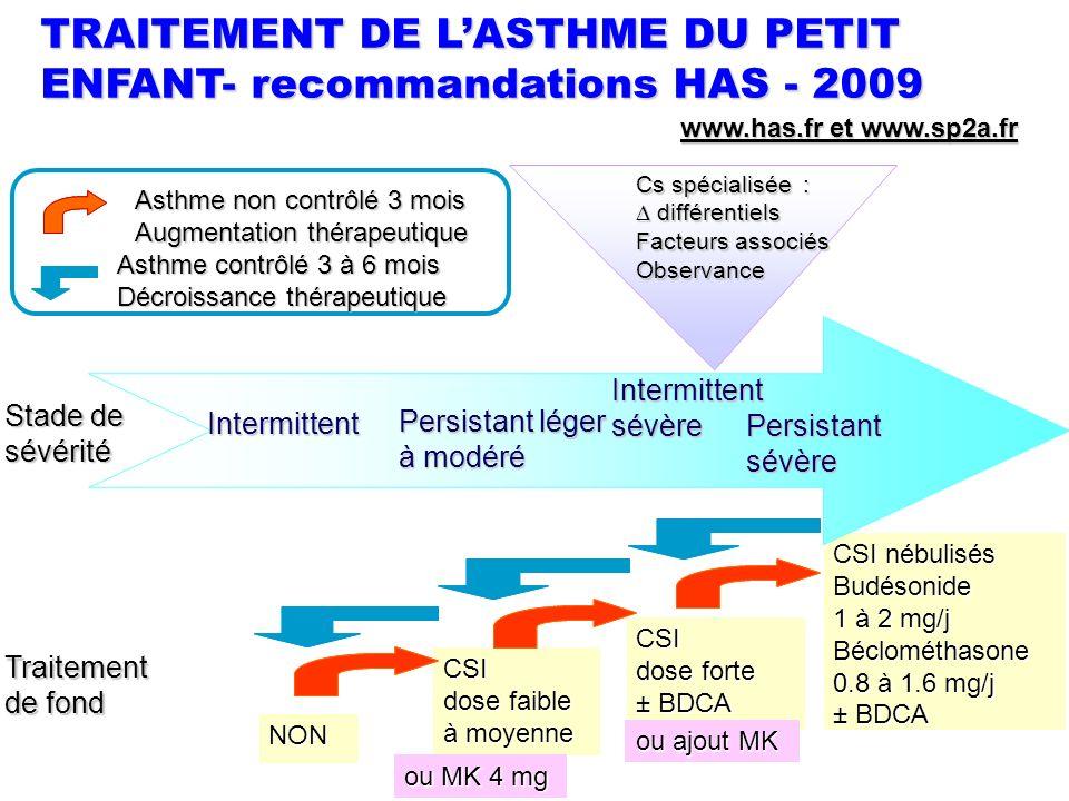 Stade de sévérité Traitement de fond NON CSI dose faible à moyenne CSI dose forte ± BDCA CSI nébulisés Budésonide 1 à 2 mg/j Béclométhasone 0.8 à 1.6