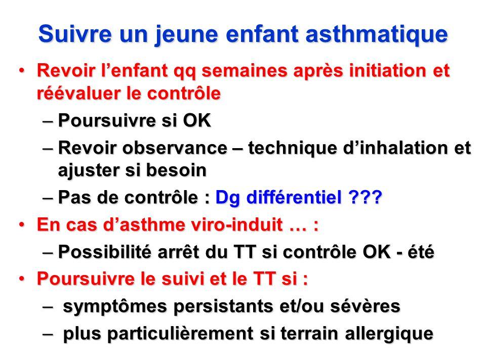 Suivre un jeune enfant asthmatique Revoir lenfant qq semaines après initiation et réévaluer le contrôleRevoir lenfant qq semaines après initiation et