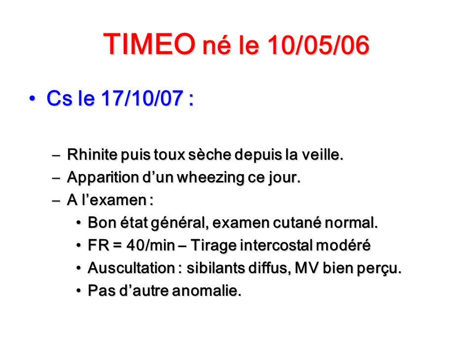 TIMEO né le 10/05/06 Cs le 17/10/07 :Cs le 17/10/07 : –Rhinite puis toux sèche depuis la veille. –Apparition dun wheezing ce jour. –A lexamen : Bon ét