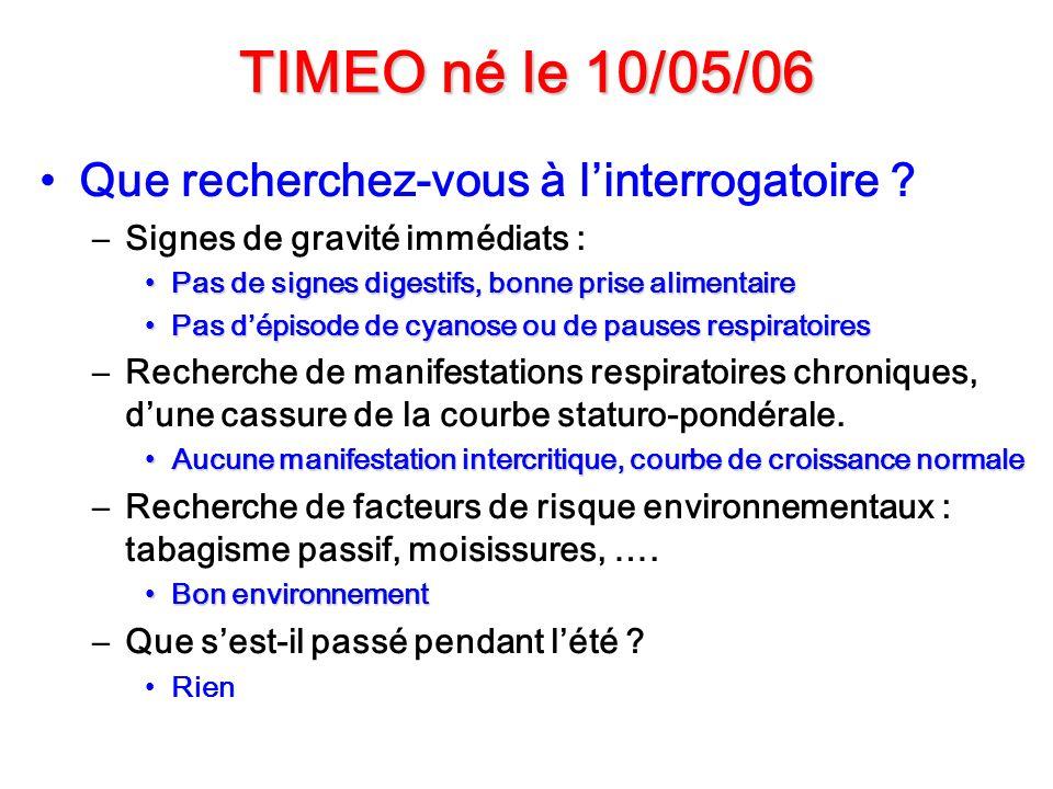 TIMEO né le 10/05/06 Que recherchez-vous à linterrogatoire ? –Signes de gravité immédiats : Pas de signes digestifs, bonne prise alimentairePas de sig