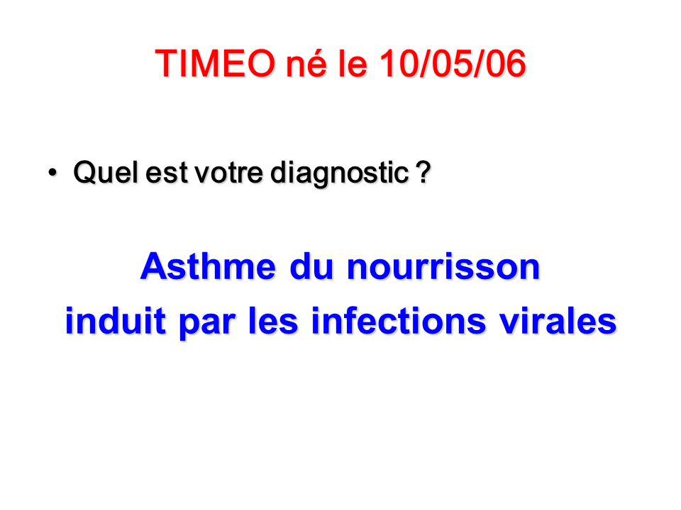 TIMEO né le 10/05/06 Quel est votre diagnostic ?Quel est votre diagnostic ? Asthme du nourrisson induit par les infections virales