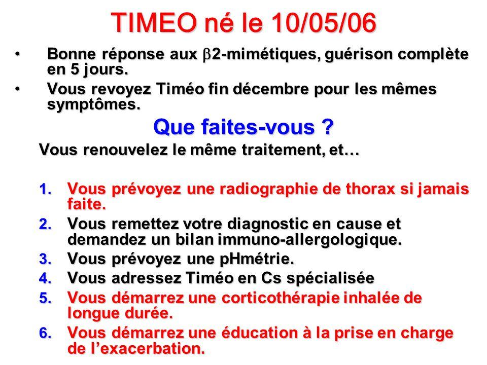 TIMEO né le 10/05/06 Bonne réponse aux 2-mimétiques, guérison complète en 5 jours.Bonne réponse aux 2-mimétiques, guérison complète en 5 jours. Vous r