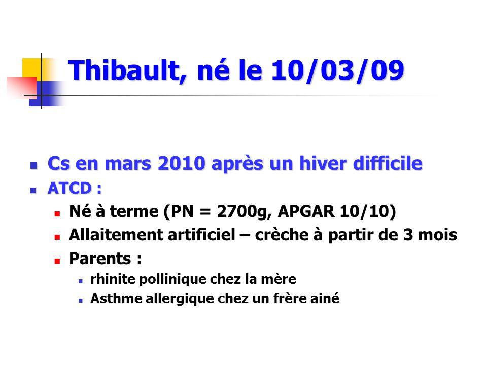 Cs en mars 2010 après un hiver difficile Cs en mars 2010 après un hiver difficile ATCD : ATCD : Né à terme (PN = 2700g, APGAR 10/10) Allaitement artif