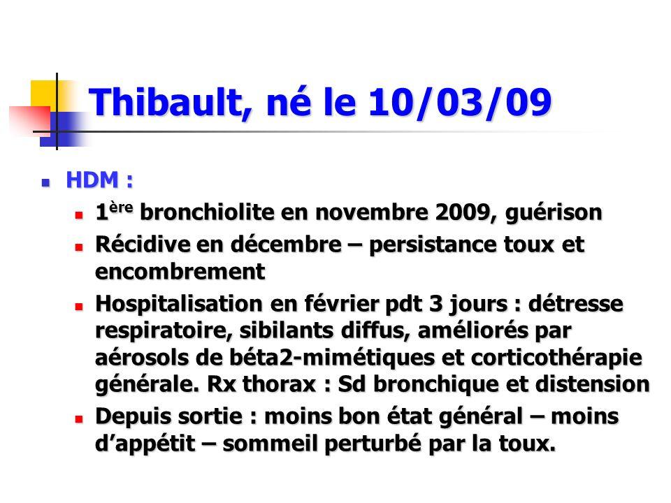 HDM : HDM : 1 ère bronchiolite en novembre 2009, guérison 1 ère bronchiolite en novembre 2009, guérison Récidive en décembre – persistance toux et enc