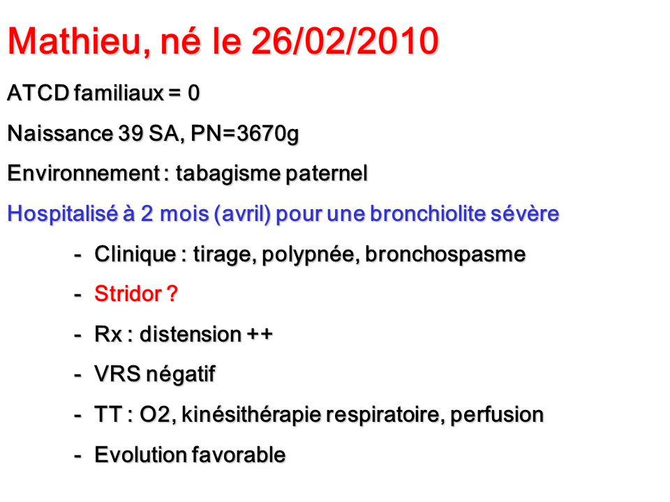 Mathieu, né le 26/02/2010 ATCD familiaux = 0 Naissance 39 SA, PN=3670g Environnement : tabagisme paternel Hospitalisé à 2 mois (avril) pour une bronch