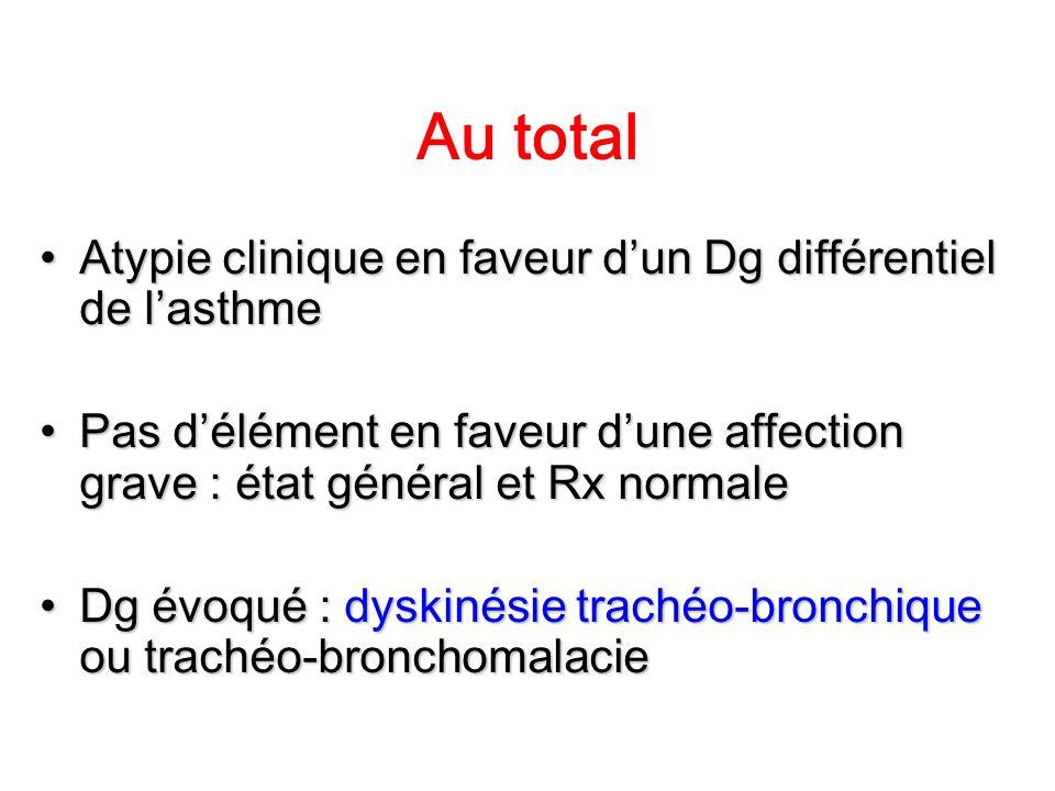 Au total Atypie clinique en faveur dun Dg différentiel de lasthmeAtypie clinique en faveur dun Dg différentiel de lasthme Pas délément en faveur dune