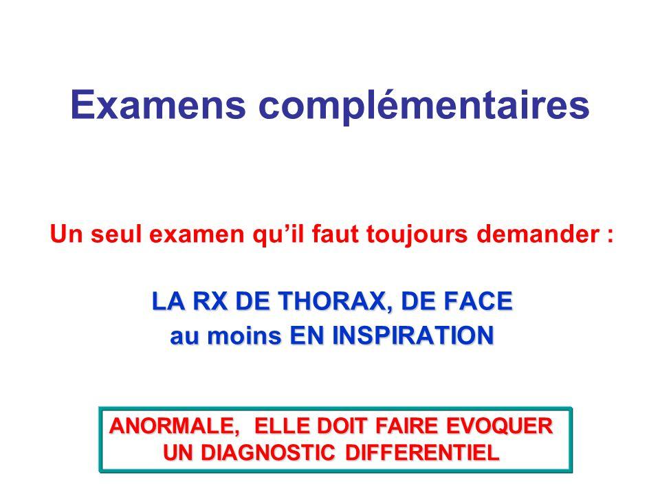 Examens complémentaires Un seul examen quil faut toujours demander : LA RX DE THORAX, DE FACE au moins EN INSPIRATION ANORMALE, ELLE DOIT FAIRE EVOQUE