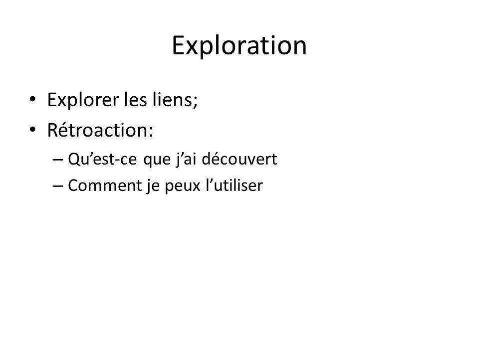 Exploration Explorer les liens; Rétroaction: – Quest-ce que jai découvert – Comment je peux lutiliser