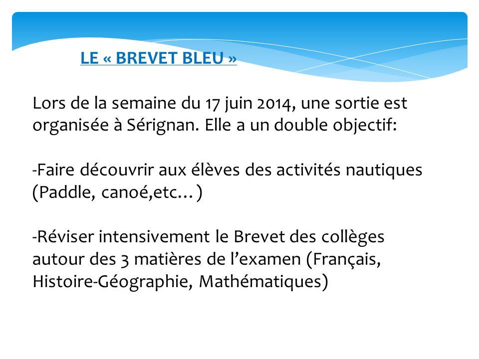 LE « BREVET BLEU » Lors de la semaine du 17 juin 2014, une sortie est organisée à Sérignan. Elle a un double objectif: -Faire découvrir aux élèves des