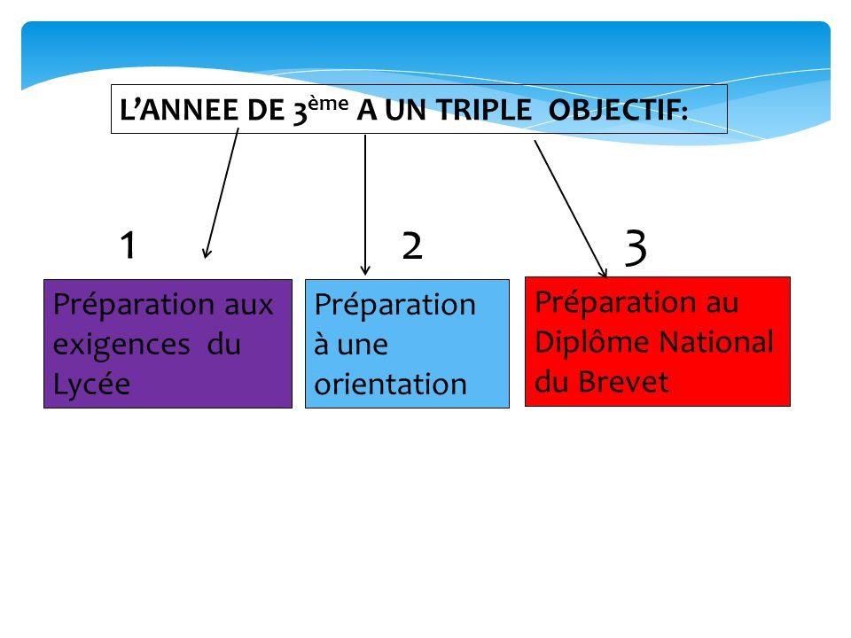 LANNEE DE 3 ème A UN TRIPLE OBJECTIF : Préparation aux exigences du Lycée Préparation à une orientation Préparation au Diplôme National du Brevet 1 2