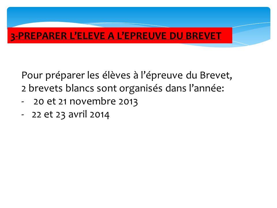 Pour préparer les élèves à lépreuve du Brevet, 2 brevets blancs sont organisés dans lannée: - 20 et 21 novembre 2013 -22 et 23 avril 2014 3-PREPARER L