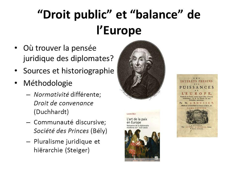 Droit public et balance de lEurope Où trouver la pensée juridique des diplomates.