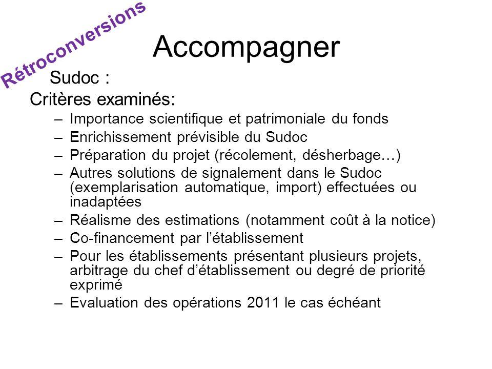 Sudoc : Critères examinés: –Importance scientifique et patrimoniale du fonds –Enrichissement prévisible du Sudoc –Préparation du projet (récolement, d
