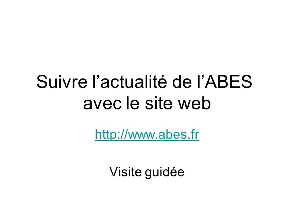 Suivre lactualité de lABES avec le site web http://www.abes.fr Visite guidée