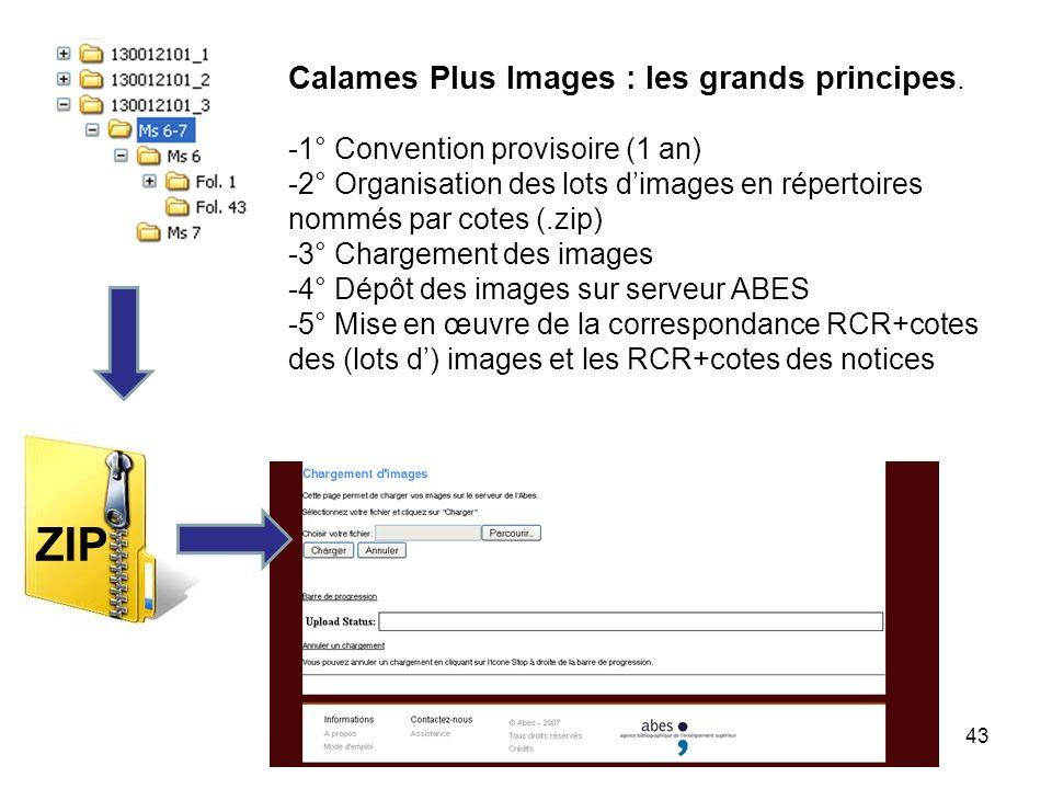 43 Calames Plus Images : les grands principes. -1° Convention provisoire (1 an) -2° Organisation des lots dimages en répertoires nommés par cotes (.zi
