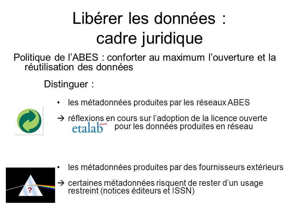 Libérer les données : cadre juridique Politique de lABES : conforter au maximum louverture et la réutilisation des données ? Distinguer : les métadonn