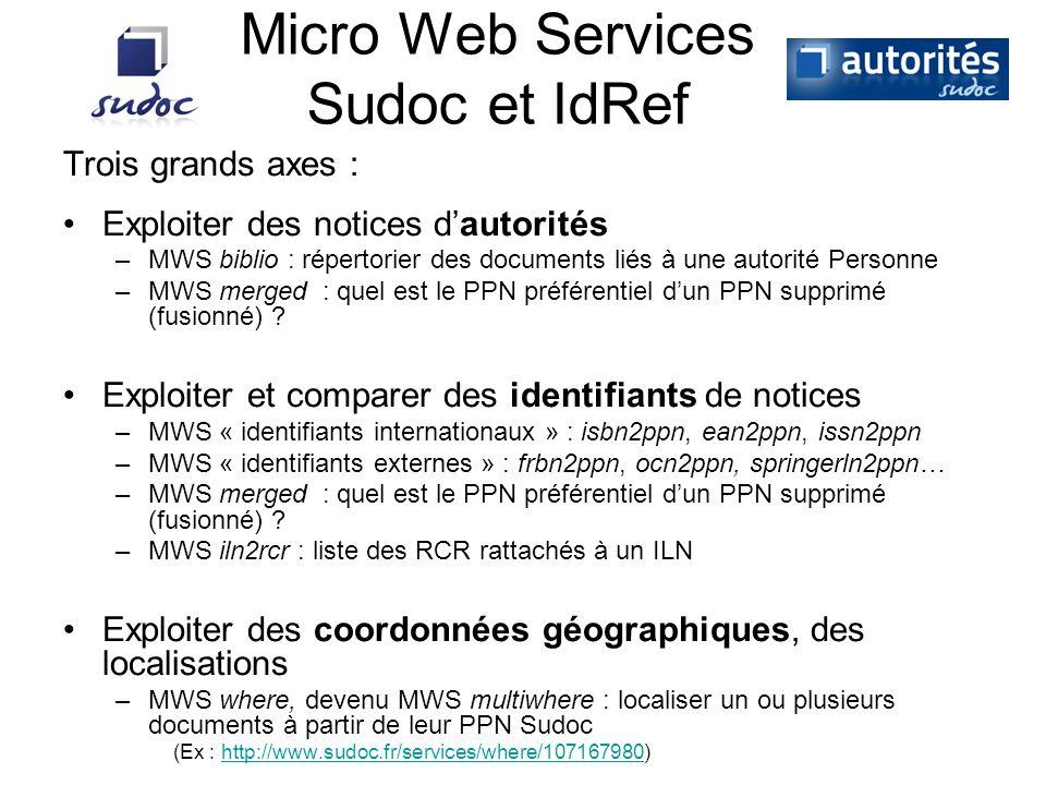 Micro Web Services Sudoc et IdRef Trois grands axes : Exploiter des notices dautorités –MWS biblio : répertorier des documents liés à une autorité Per