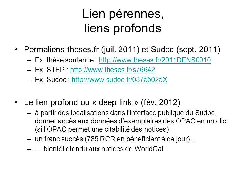 Lien pérennes, liens profonds Permaliens theses.fr (juil. 2011) et Sudoc (sept. 2011) –Ex. thèse soutenue : http://www.theses.fr/2011DENS0010http://ww