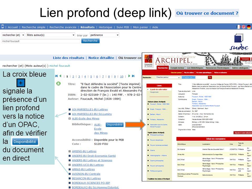 54 Lien profond (deep link) La croix bleue signale la présence dun lien profond vers la notice dun OPAC, afin de vérifier la du document en direct +