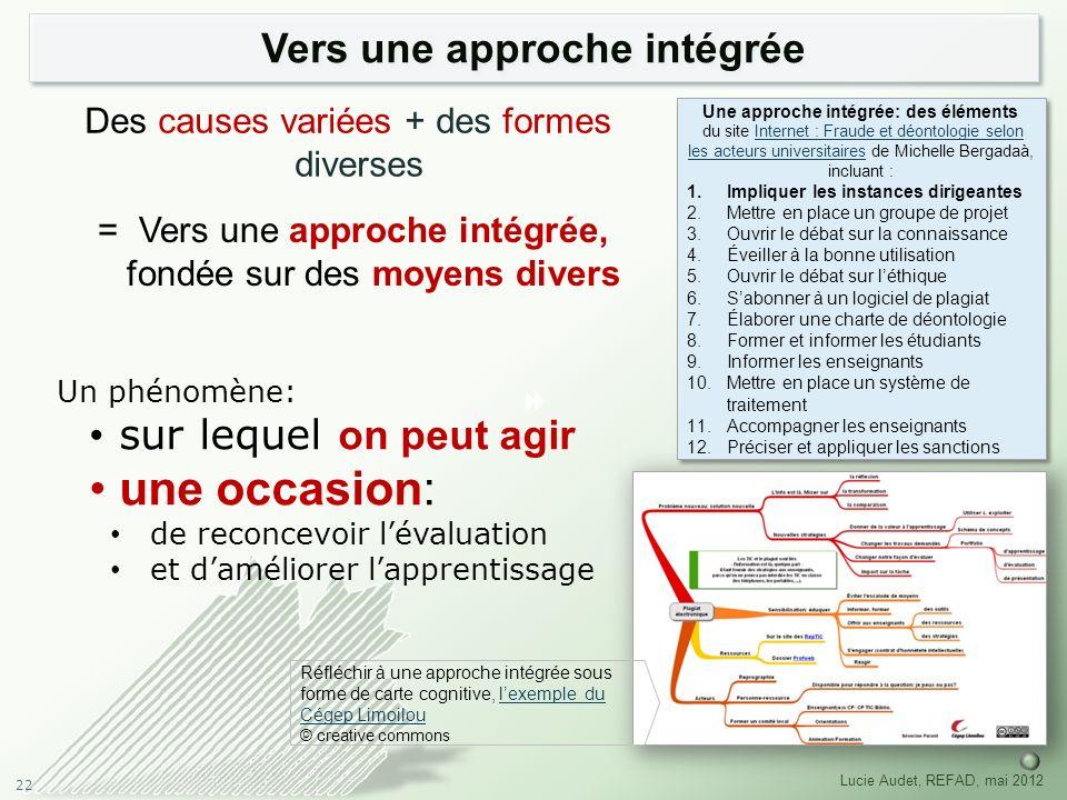 22 Lucie Audet, REFAD, mai 2012 Vers une approche intégrée Des causes variées + des formes diverses = Vers une approche intégrée, fondée sur des moyen