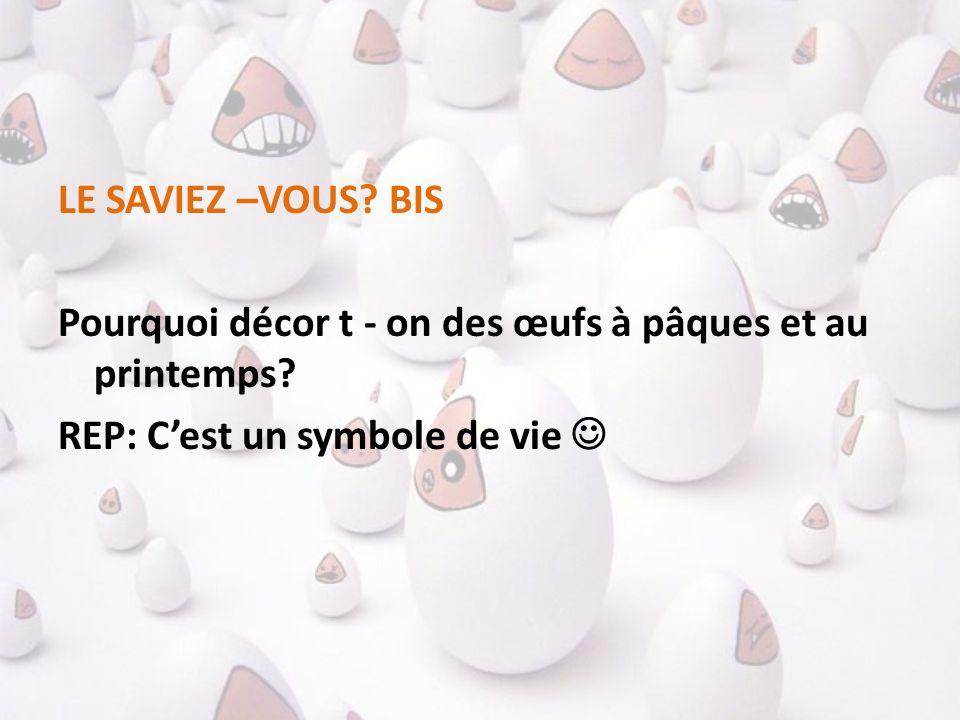 LE SAVIEZ –VOUS? BIS Pourquoi décor t - on des œufs à pâques et au printemps? REP: Cest un symbole de vie