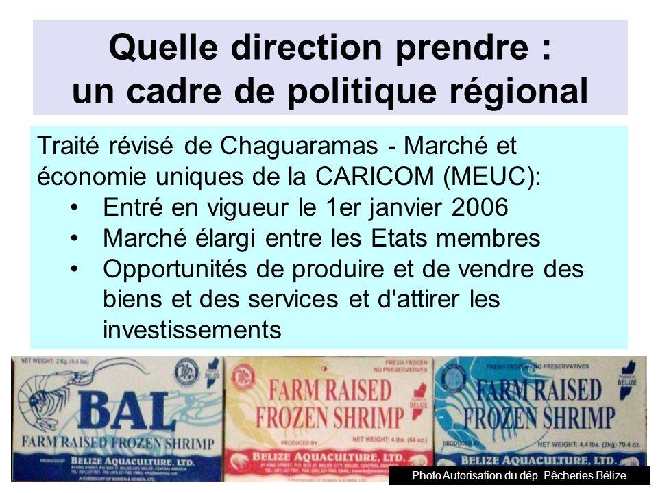 Quelle direction prendre : un cadre de politique régional Traité révisé de Chaguaramas - Marché et économie uniques de la CARICOM (MEUC): Entré en vigueur le 1er janvier 2006 Marché élargi entre les Etats membres Opportunités de produire et de vendre des biens et des services et d attirer les investissements Photo Autorisation du dép.