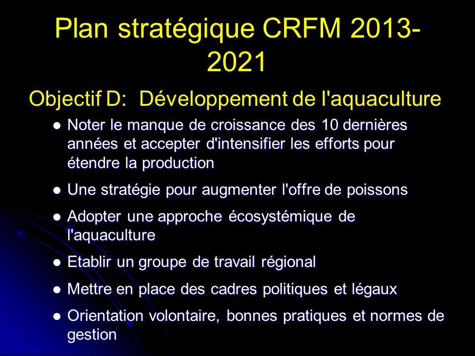 Plan stratégique CRFM 2013- 2021 Objectif D: Développement de l aquaculture Noter le manque de croissance des 10 dernières années et accepter d intensifier les efforts pour étendre la production Noter le manque de croissance des 10 dernières années et accepter d intensifier les efforts pour étendre la production Une stratégie pour augmenter l offre de poissons Une stratégie pour augmenter l offre de poissons Adopter une approche écosystémique de l aquaculture Adopter une approche écosystémique de l aquaculture Etablir un groupe de travail régional Etablir un groupe de travail régional Mettre en place des cadres politiques et légaux Mettre en place des cadres politiques et légaux Orientation volontaire, bonnes pratiques et normes de gestion Orientation volontaire, bonnes pratiques et normes de gestion