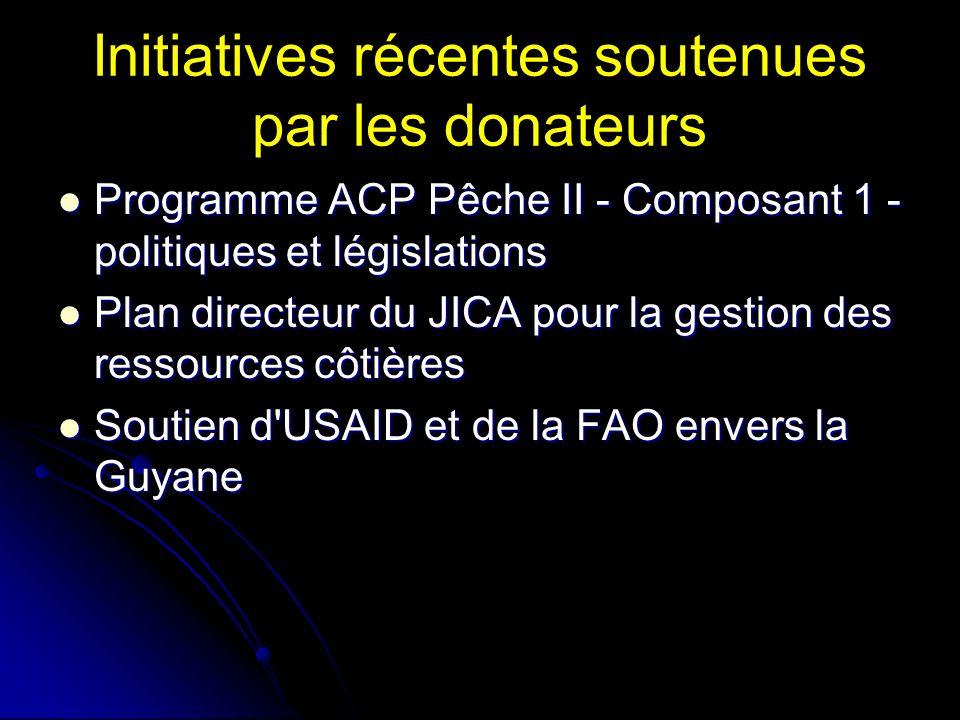 Initiatives récentes soutenues par les donateurs Programme ACP Pêche II - Composant 1 - politiques et législations Programme ACP Pêche II - Composant 1 - politiques et législations Plan directeur du JICA pour la gestion des ressources côtières Plan directeur du JICA pour la gestion des ressources côtières Soutien d USAID et de la FAO envers la Guyane Soutien d USAID et de la FAO envers la Guyane