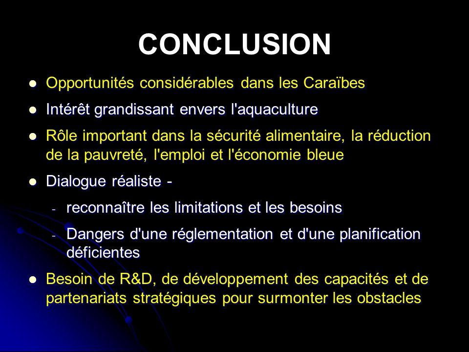 CONCLUSION Opportunités considérables dans les Caraïbes Opportunités considérables dans les Caraïbes Intérêt grandissant envers l aquaculture Intérêt grandissant envers l aquaculture Rôle important dans la sécurité alimentaire, la réduction de la pauvreté, l emploi et l économie bleue Rôle important dans la sécurité alimentaire, la réduction de la pauvreté, l emploi et l économie bleue Dialogue réaliste - Dialogue réaliste - - reconnaître les limitations et les besoins - Dangers d une réglementation et d une planification déficientes Besoin de R&D, de développement des capacités et de partenariats stratégiques pour surmonter les obstacles Besoin de R&D, de développement des capacités et de partenariats stratégiques pour surmonter les obstacles