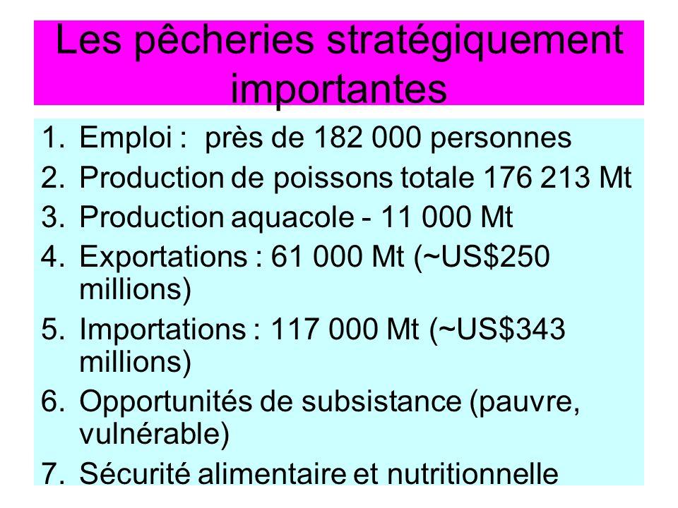 Les pêcheries stratégiquement importantes 1.Emploi : près de 182 000 personnes 2.Production de poissons totale 176 213 Mt 3.Production aquacole - 11 000 Mt 4.Exportations : 61 000 Mt (~US$250 millions) 5.Importations : 117 000 Mt (~US$343 millions) 6.Opportunités de subsistance (pauvre, vulnérable) 7.Sécurité alimentaire et nutritionnelle