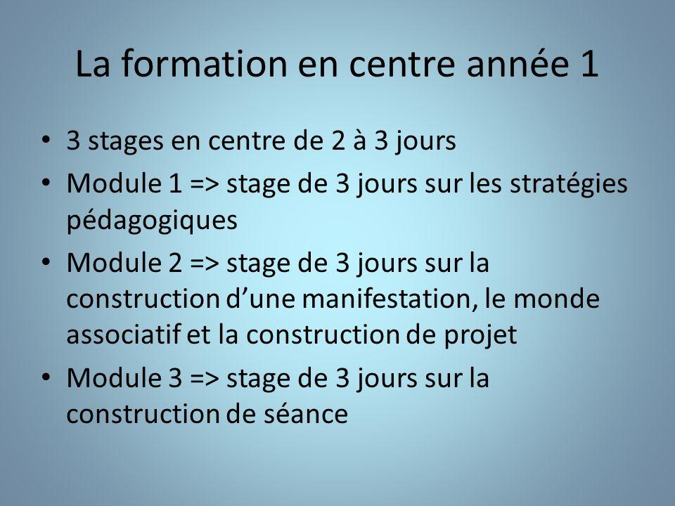 La formation en centre année 1 3 stages en centre de 2 à 3 jours Module 1 => stage de 3 jours sur les stratégies pédagogiques Module 2 => stage de 3 j
