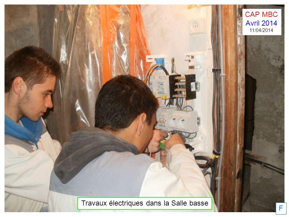 F Travaux électriques dans la Salle basse CAP MBC Avril 2014 11/04/2014