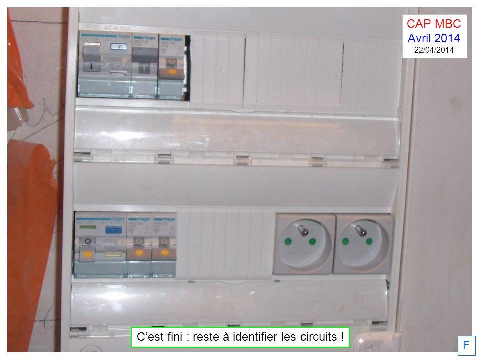 F Cest fini : reste à identifier les circuits ! CAP MBC Avril 2014 22/04/2014