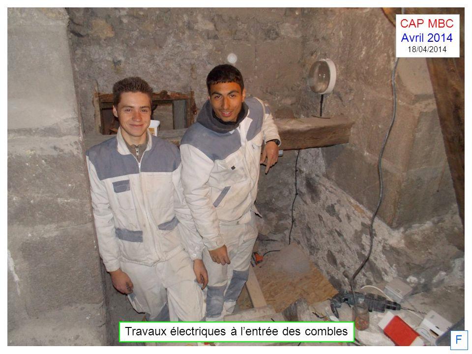 F Travaux électriques à lentrée des combles CAP MBC Avril 2014 18/04/2014