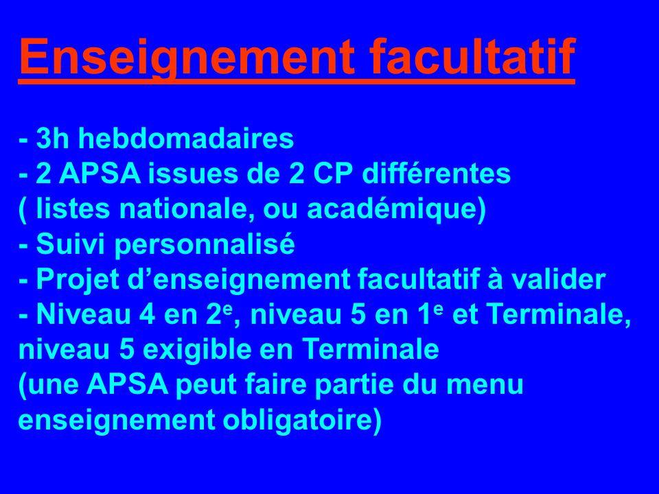 Enseignement facultatif - 3h hebdomadaires - 2 APSA issues de 2 CP différentes ( listes nationale, ou académique) - Suivi personnalisé - Projet denseignement facultatif à valider - Niveau 4 en 2 e, niveau 5 en 1 e et Terminale, niveau 5 exigible en Terminale (une APSA peut faire partie du menu enseignement obligatoire)