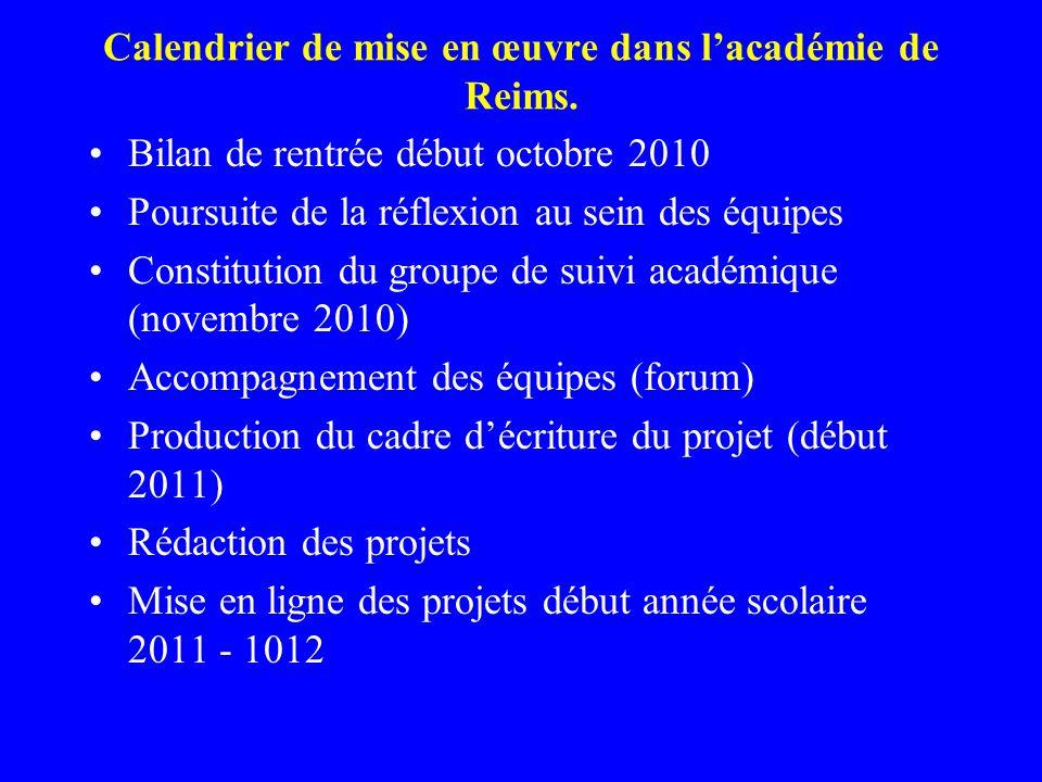 Calendrier de mise en œuvre dans lacadémie de Reims. Bilan de rentrée début octobre 2010 Poursuite de la réflexion au sein des équipes Constitution du