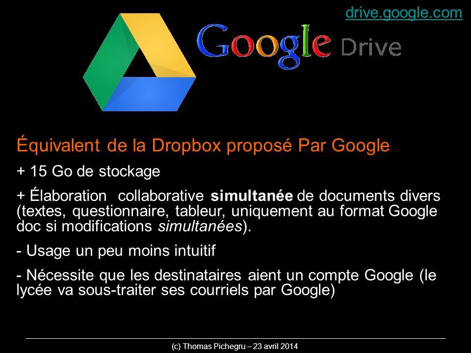 Équivalent de la Dropbox proposé Par Google + 15 Go de stockage + Élaboration collaborative simultanée de documents divers (textes, questionnaire, tableur, uniquement au format Google doc si modifications simultanées).