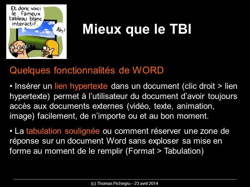 Quelques fonctionnalités de WORD Insérer un lien hypertexte dans un document (clic droit > lien hypertexte) permet à lutilisateur du document davoir toujours accès aux documents externes (vidéo, texte, animation, image) facilement, de nimporte ou et au bon moment.