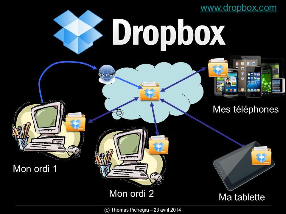 www.dropbox.com Mon ordi 1 Mon ordi 2 Ma tablette Mes téléphones (c) Thomas Pichegru – 23 avril 2014