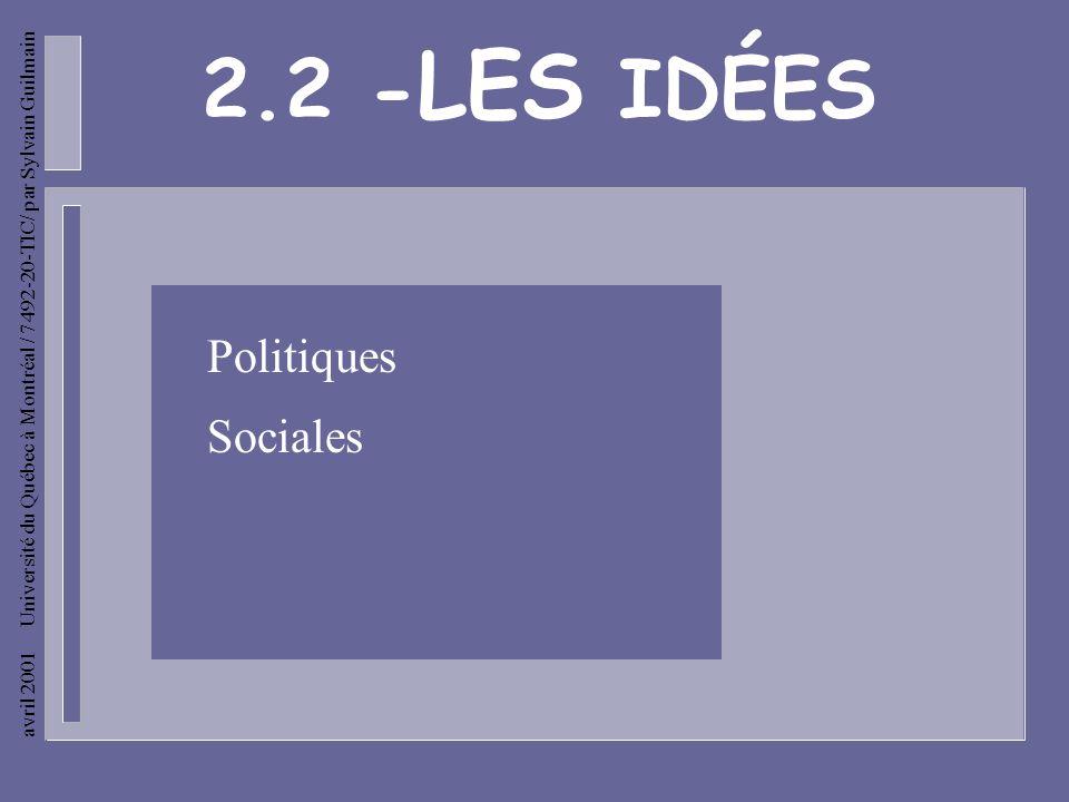 avril 2001 Université du Québec à Montréal / 7492-20-TIC/ par Sylvain Guilmain Les idées politiques - Monarchie tempérée et respectueuse des libertés