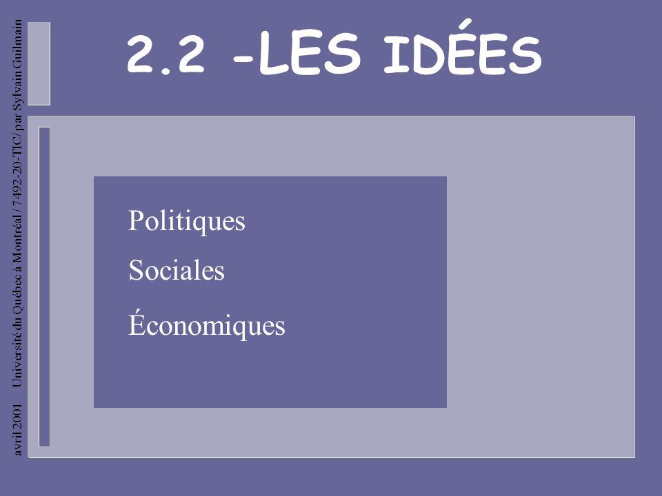 avril 2001 Université du Québec à Montréal / 7492-20-TIC/ par Sylvain Guilmain Les idées sociales - Humanisation de la justice. - Développement de léd
