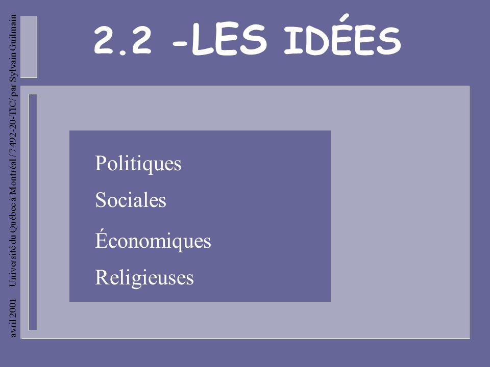 avril 2001 Université du Québec à Montréal / 7492-20-TIC/ par Sylvain Guilmain Les idées économiques - Bienfaits de la liberté et de la nature au poin