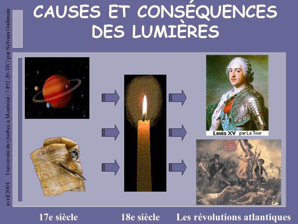 avril 2001 Université du Québec à Montréal / 7492-20-TIC/ par Sylvain Guilmain CAUSES ET CONSÉQUENCES DES LUMIÈRES 17e siècle18e siècleLes révolutions atlantiques