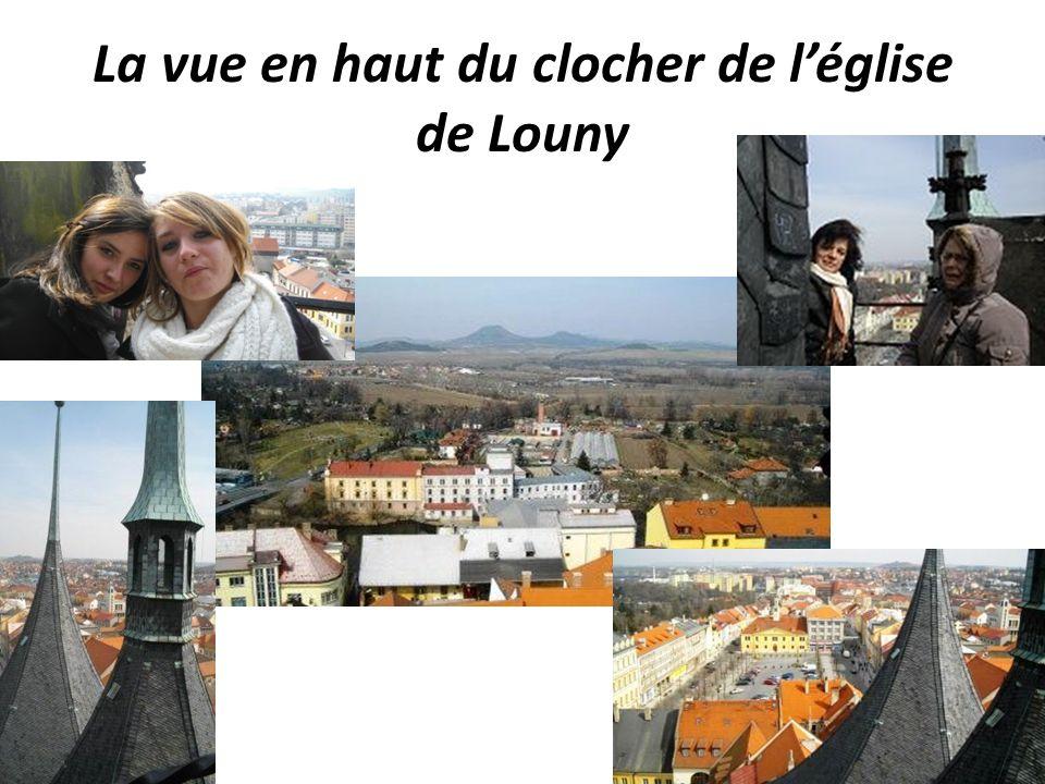 La vue en haut du clocher de léglise de Louny