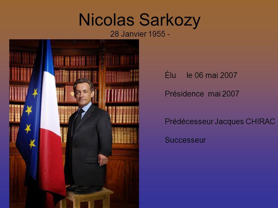 Nicolas Sarkozy 28 Janvier 1955 - Élu le 06 mai 2007 Présidence mai 2007 Prédécesseur Jacques CHIRAC Successeur