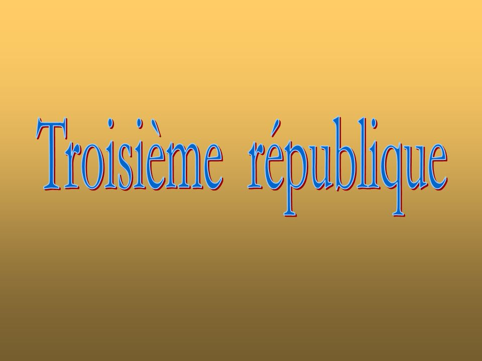 ADOLPHE THIERS 15 avril 1797 - 03 septembre 1877 Nomination 31 août 1871 Attribution du titre Président en réalité Présidence 31 août 1871 24 mai1873 Prédécesseur Louis-Napoléon Bonaparte, Indirectement Successeur Patrice de Mac-Mahon